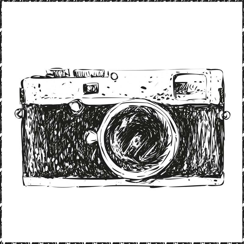 Illustration einer Leica-Kamera. Diese Kamera ist beliebt bei Fotoreportern.