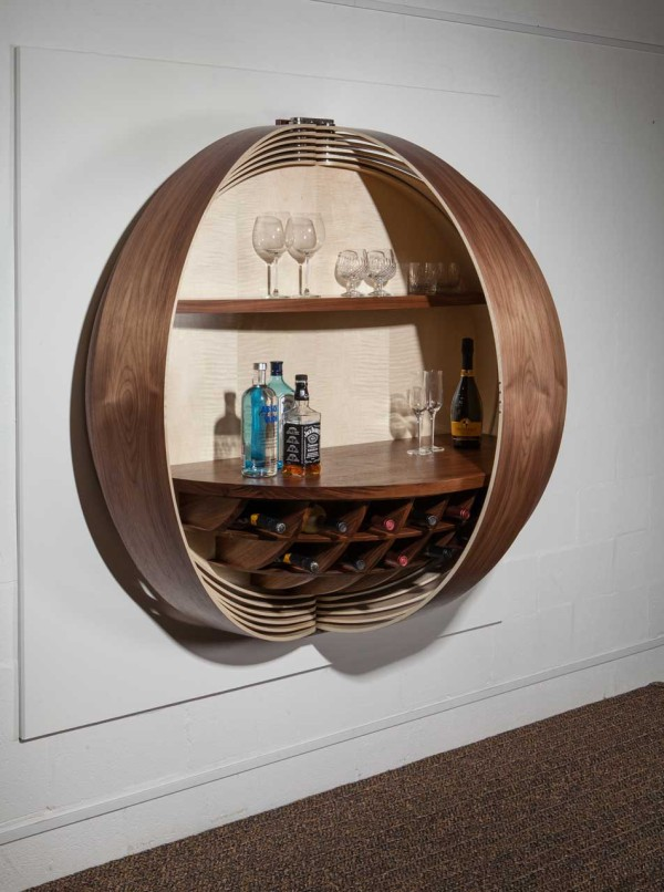 This Gorgeous Wall Mounted Bar Cabinet Is A Show Stopping