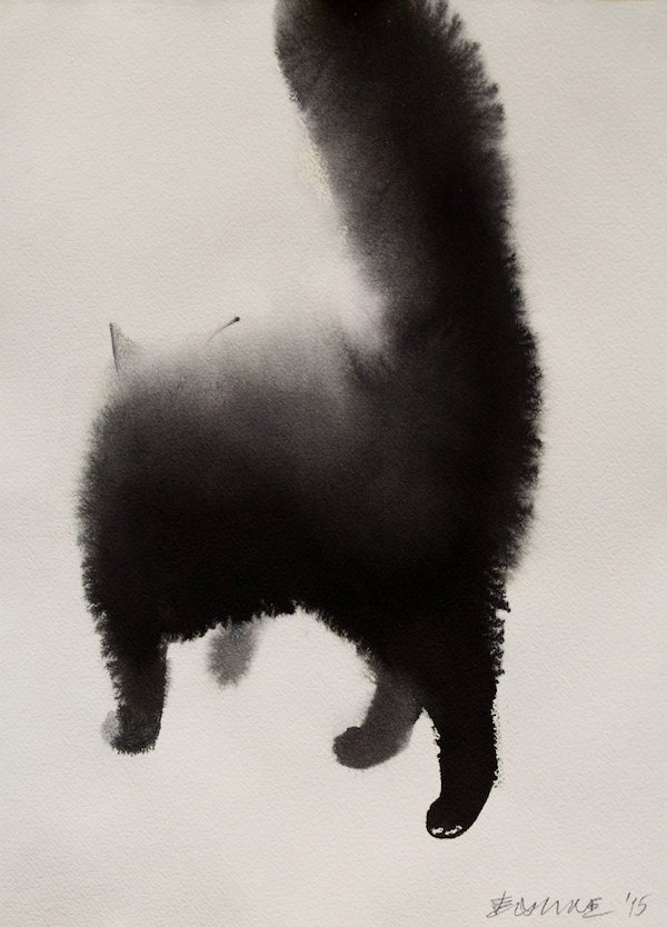 Striking Watercolor Paintings Of Mysterious Cats Blending