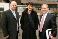Arlene Foster, David Simpson and Lord Morrow following a meeting with Security Minister Paul Goggins