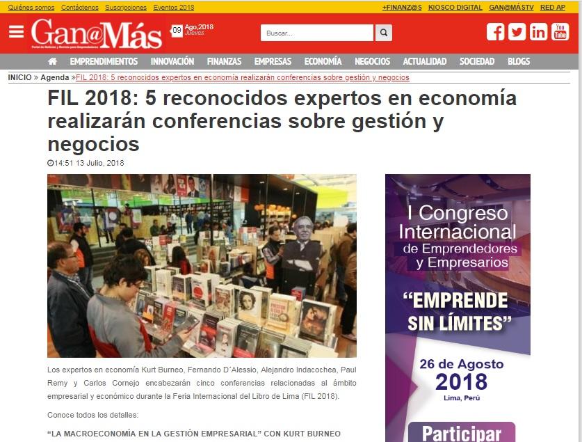 FIL 2018: 5 reconocidos expertos en economía realizarán conferencias sobre gestión y negocios