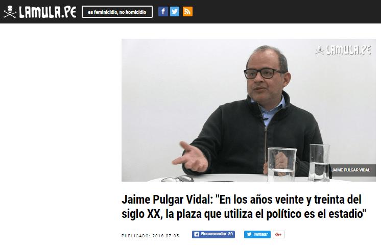 """Jaime Pulgar Vidal: """"En los años veinte y treinta del siglo XX, la plaza que utiliza el político es el estadio"""""""