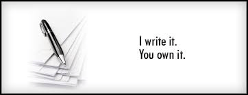 Pen and words on black and white paper saying I write it you own it