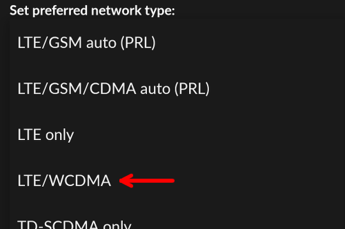 Forcing LTE WCDMA only