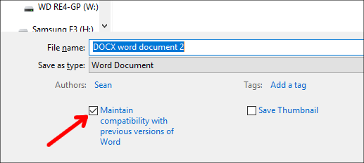 DOCX Maintain compatibility