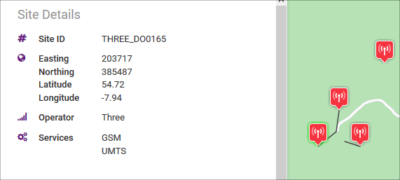ComReg site with Site ID THREE_DO0165 and services GSM, and UMTS