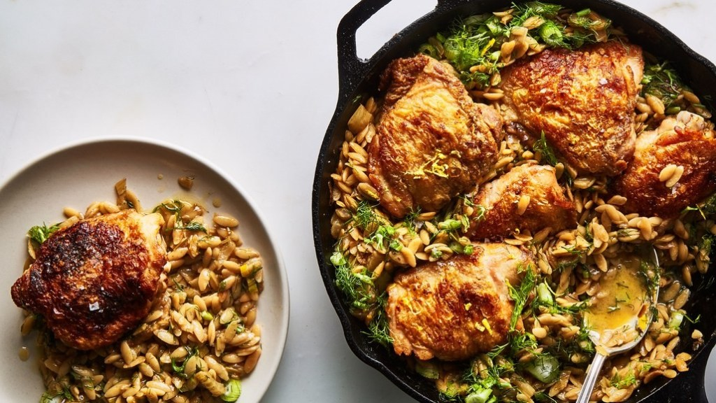 one-skillet-chicken-with-buttery-orzo