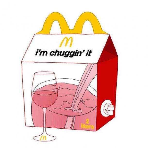 wine meme - i'm chuggin' it