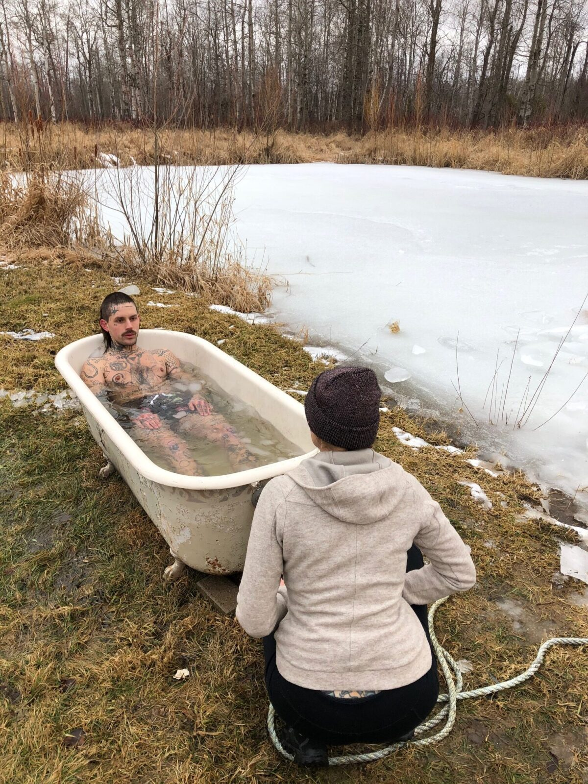 man in ice bath doing wim hof method