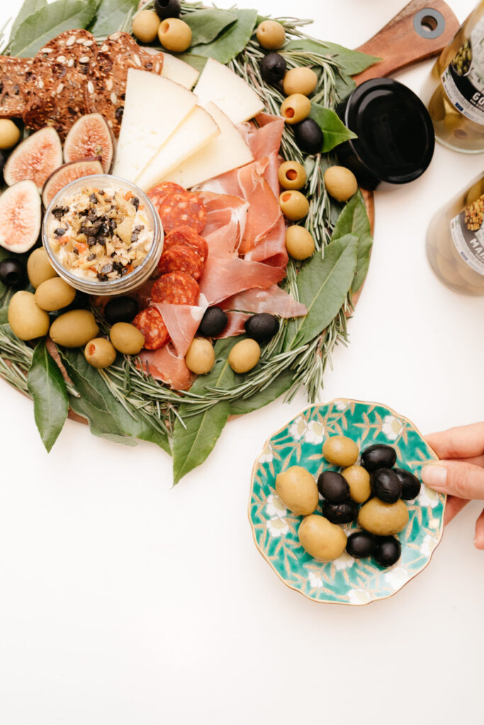 European Olives - Winter Wreath Inspired Charcuterie Board