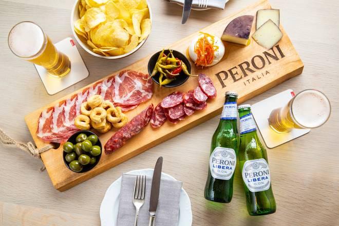 aperitivo board with Peroni Libera beer