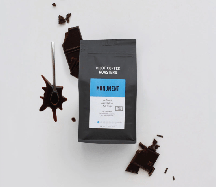 a pack of local coffee brand pilot coffee roasters
