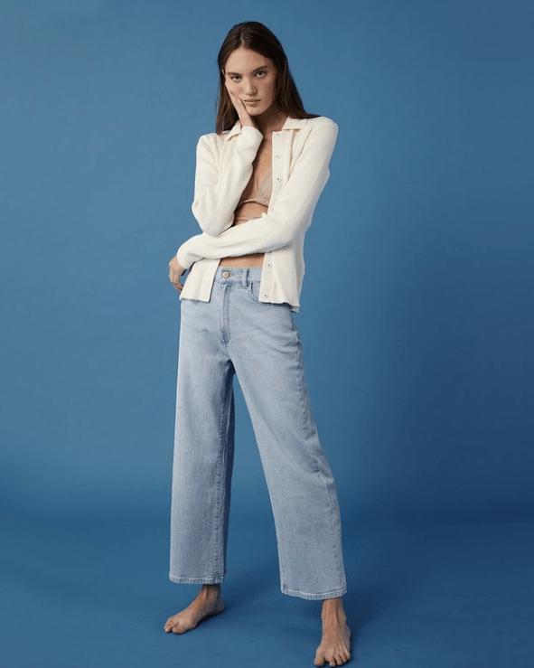model wearing DL1961 sustainable denim jeans