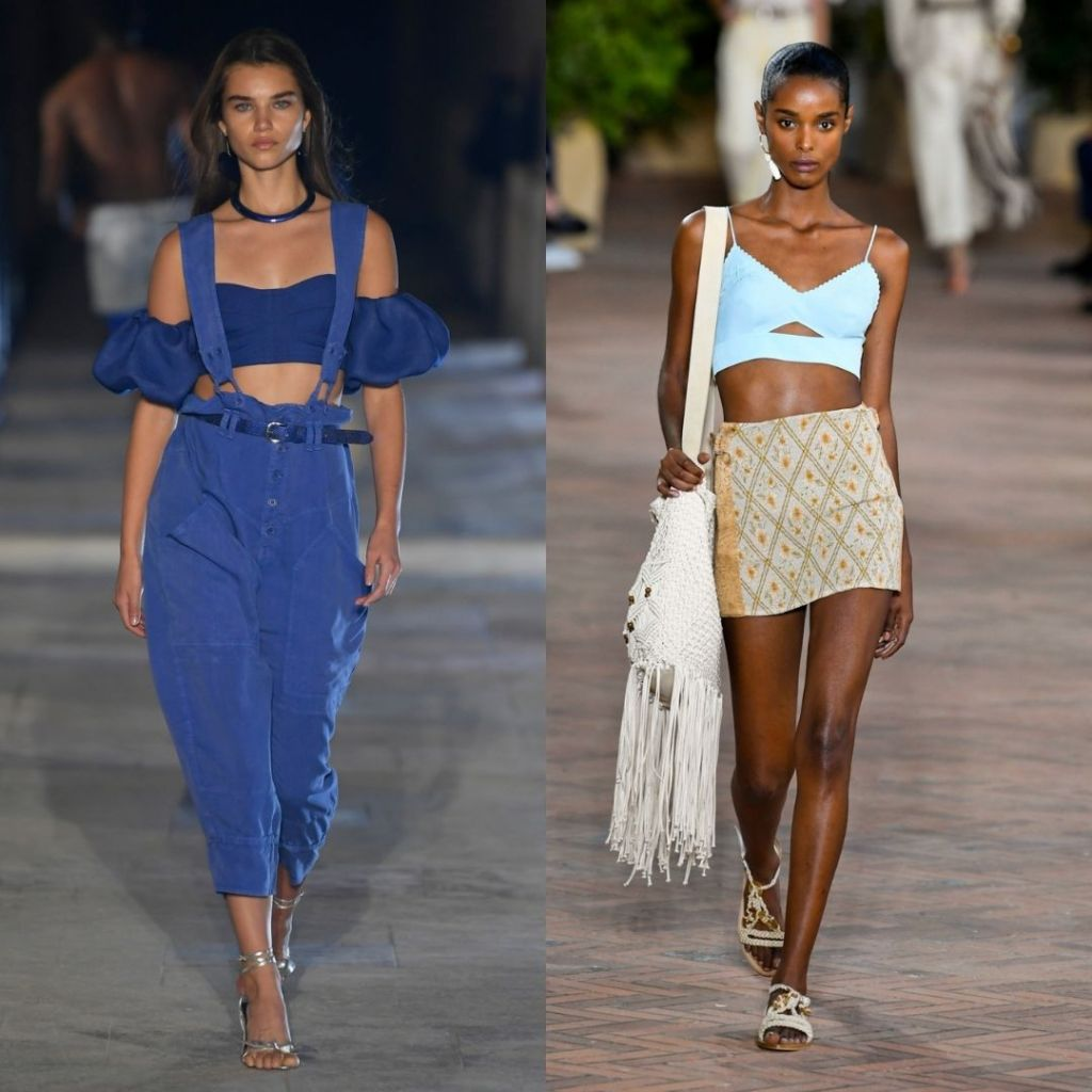 bralette top with high waist bottoms; Isabel Marant and Alberta Ferretti RTW SS21