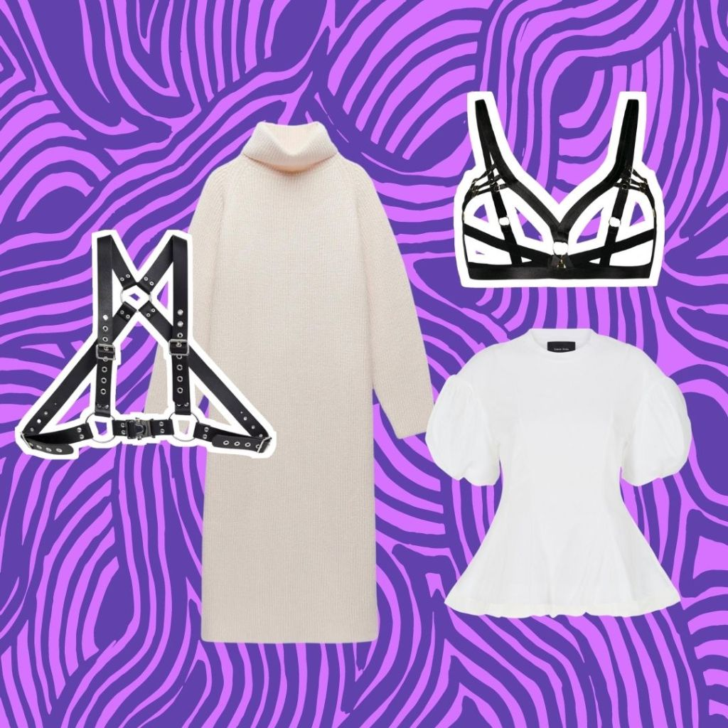 black belt harness and bra harness with white clothing
