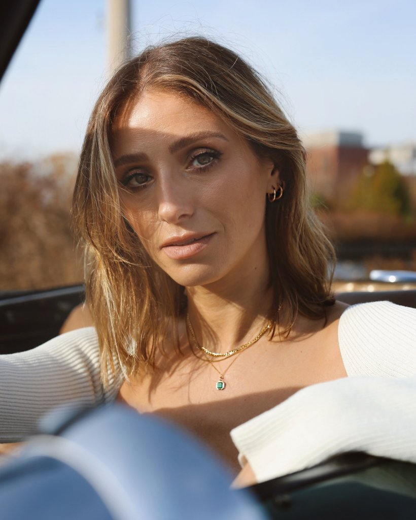 Jill Lansky wearing Deco Necklace from The August Diaries Deco Collection