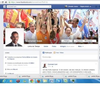 Página do Coronel Ivon no Facebook mostra a participação dele na campanha eleitoral