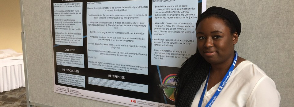 Kharoll-Ann Souffrant, assistante de recherche à la CRÉVAJ, présente sa première affiche scientifique au CIFAS