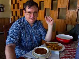 Ed with red-red (black-eyed peas and fried ripe plantain)