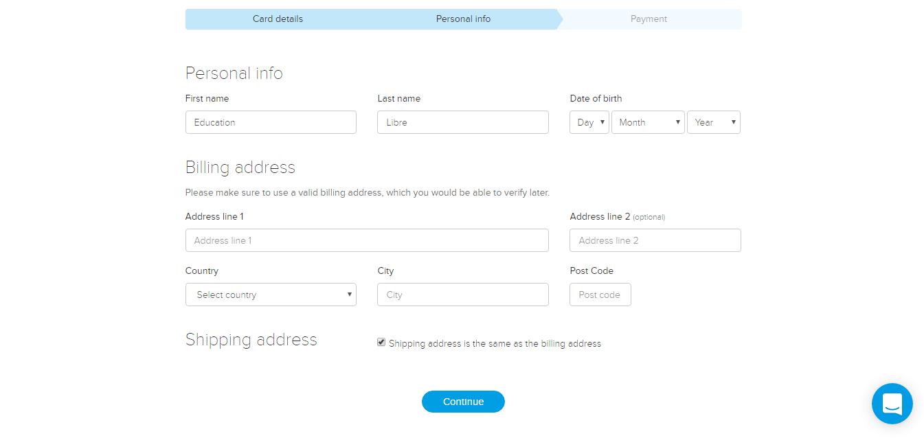 طلب بطاقة افتراضية لصرف البيتكوين