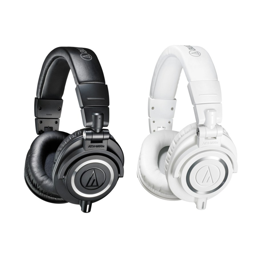black and white audio technica ath m50x side by side