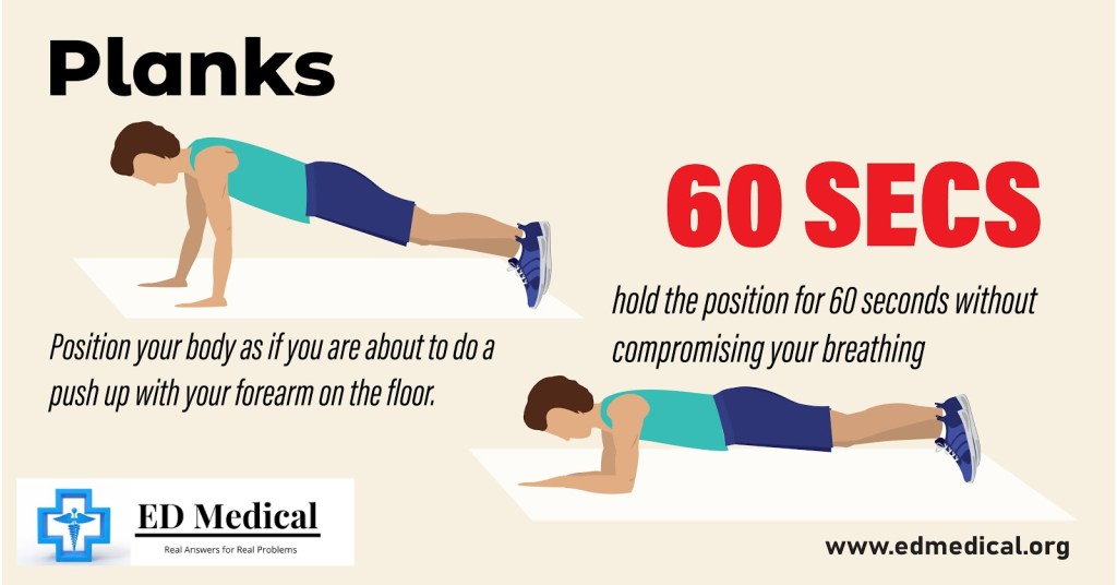 "Illustrations showing ""How to do planks"""