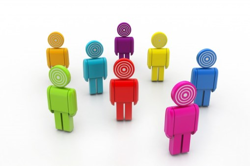 A group of 3D rendered people with targets as heads