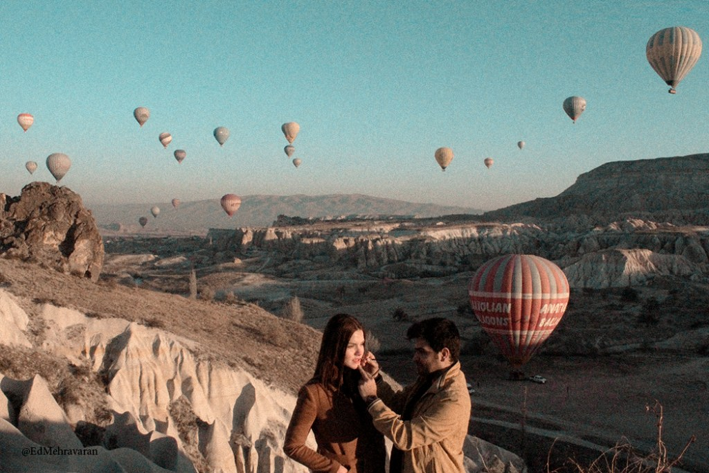 makeup artist on music video production set in Cappadocia