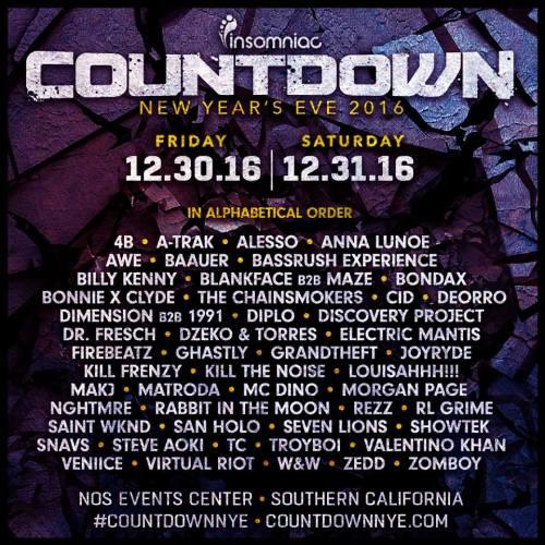 Countdown 2016 Lineup