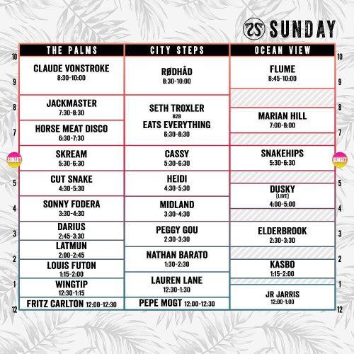 CRSSD Festival Spring 2017 Set Times Sunday