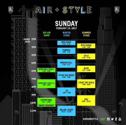 Air + Style LA 2017 Set Times Sunday