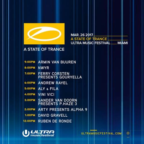 Ultra Music Festival 2017 Set Times - ASOT