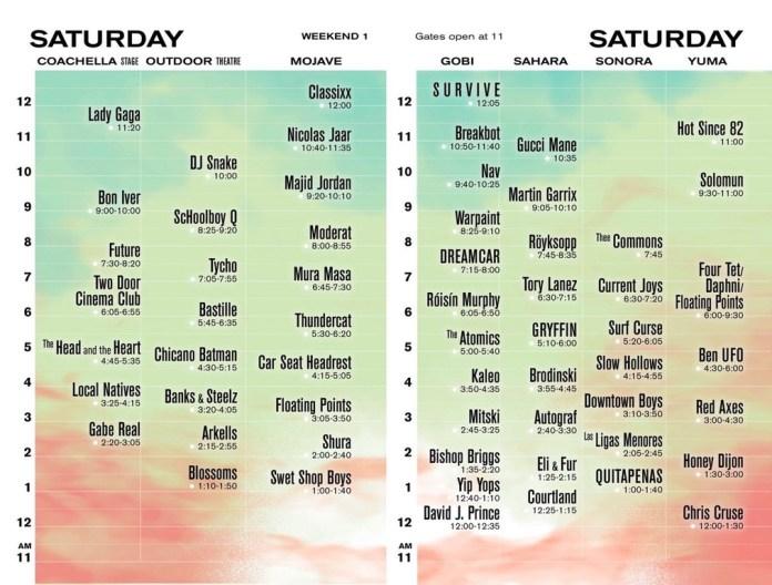 Coachella 2017 Set Times - Saturday