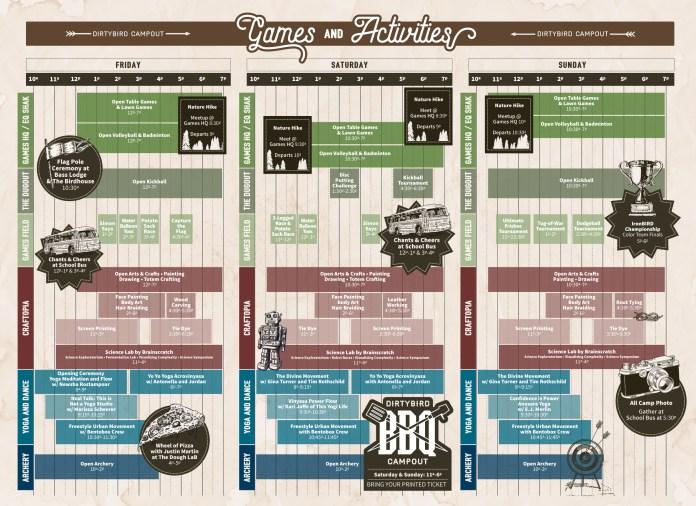 Dirtybird Campout 2017 Games & Activites Schedule