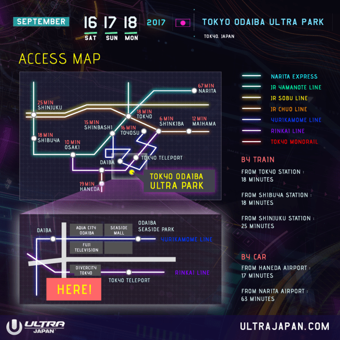 Ultra Japan 2017 Access Map