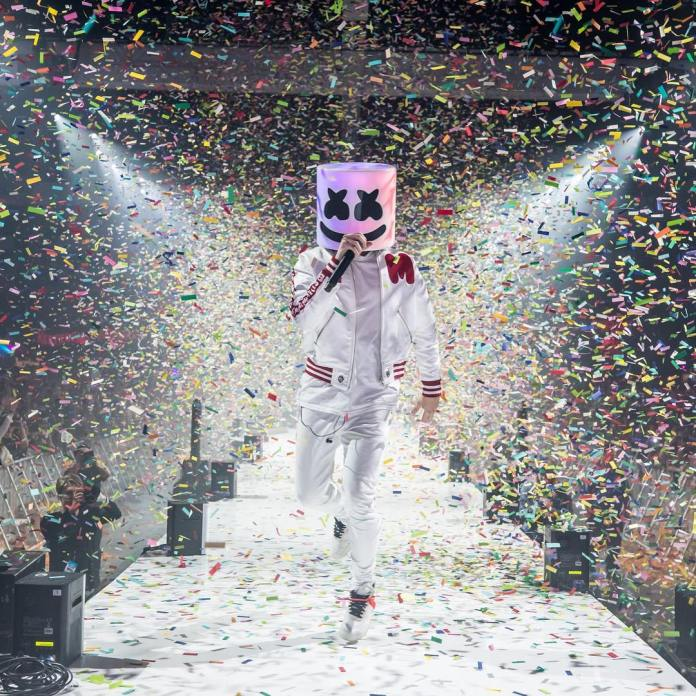 Marshmello covered in confetti
