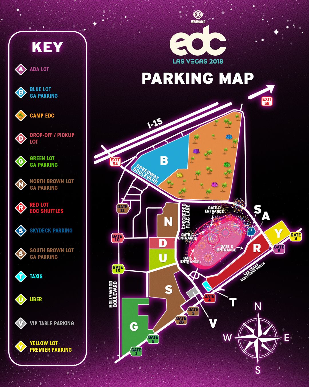 EDC Las Vegas 2018   Parking Map | EDM Identity