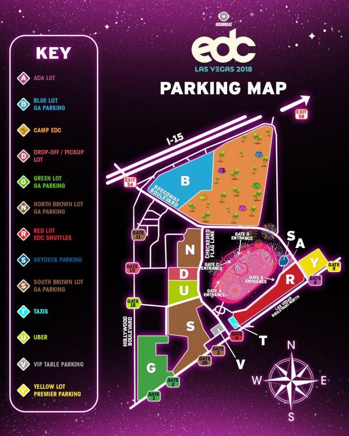 EDC Las Vegas 2018 - Parking Map