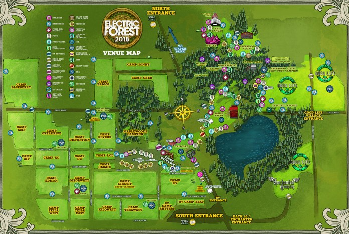 Electric Forest 2018 Festival Map