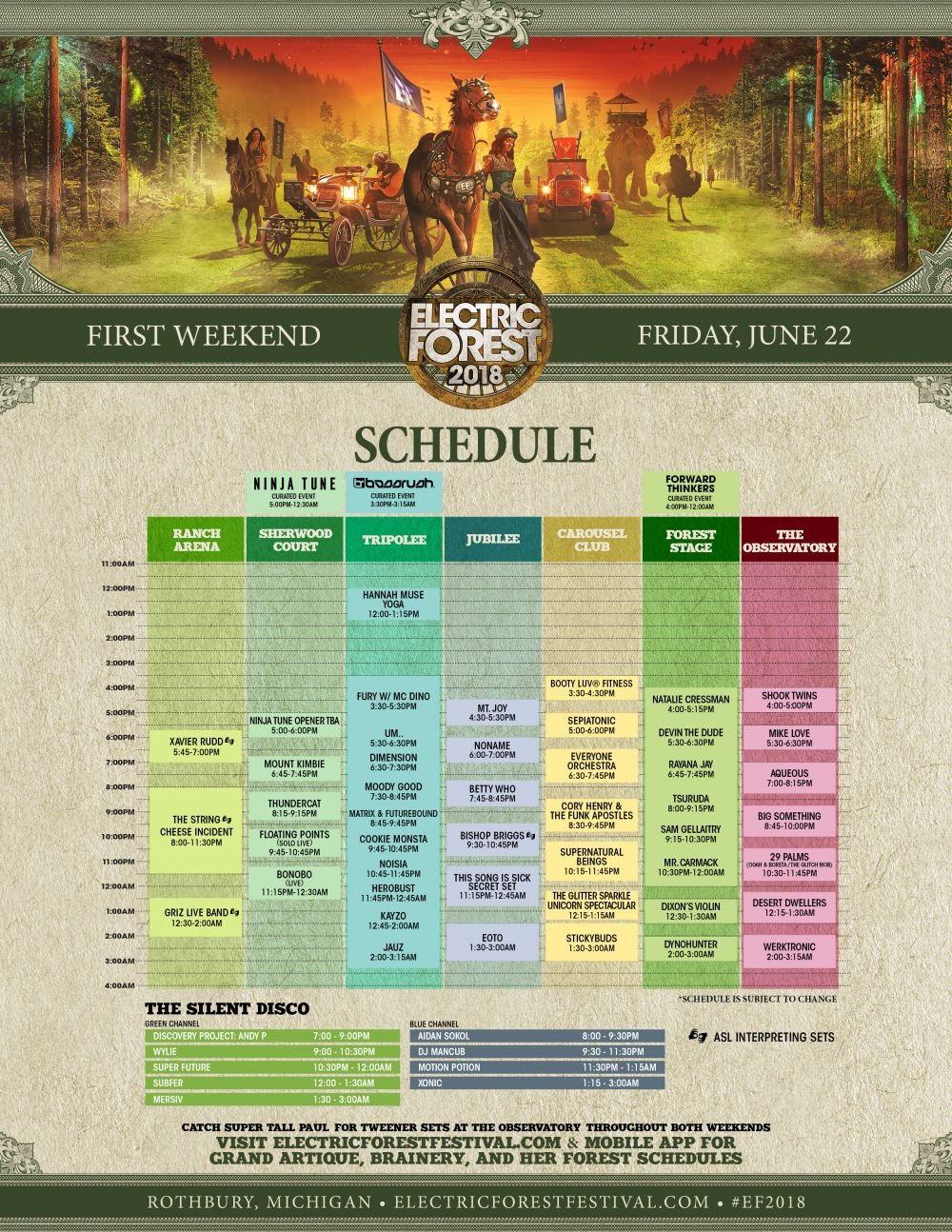 Electric Forest 2018 Wknd 1 Set Times Friday