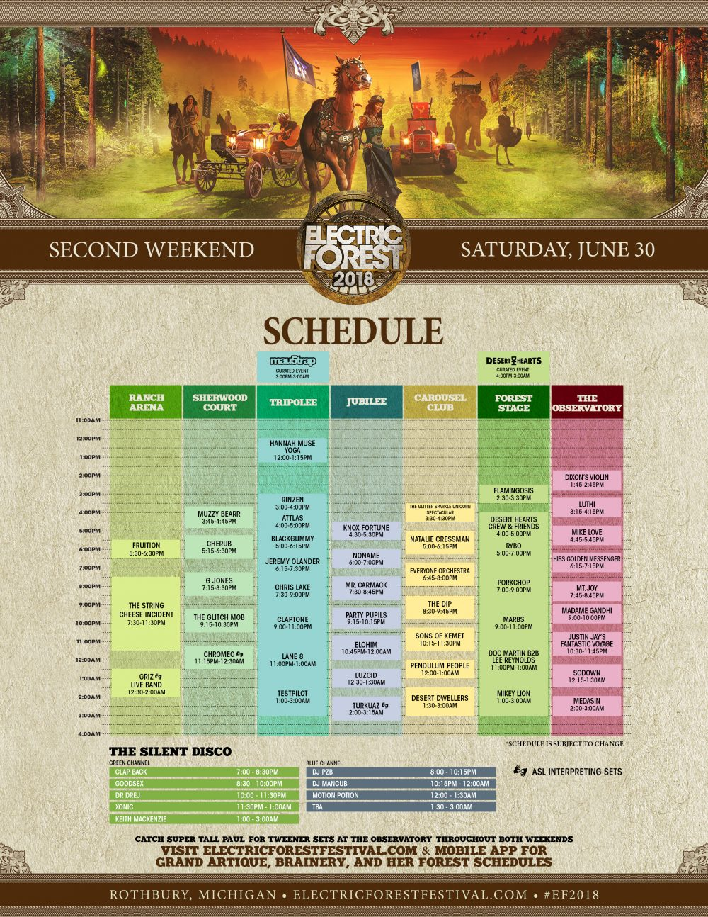Electric Forest 2018 Wknd 2 Set Times Saturday