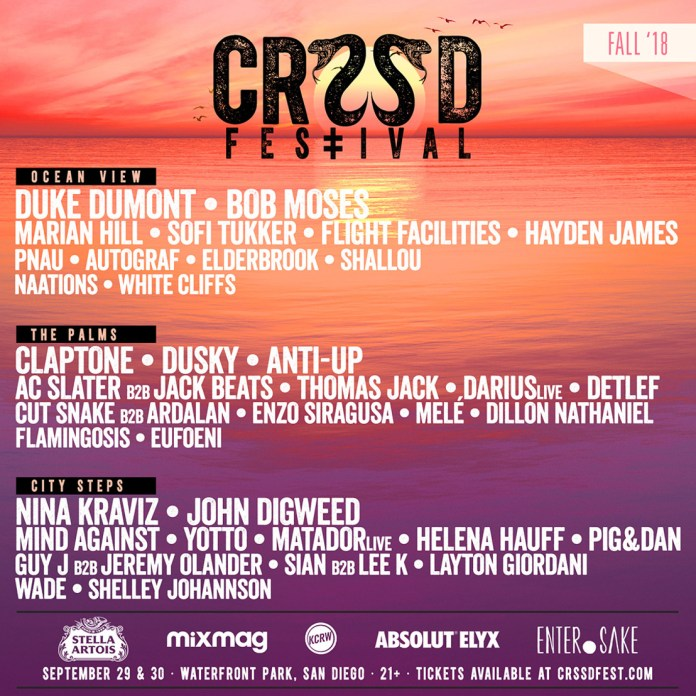 CRSSD Festival 2018 Fall Lineup