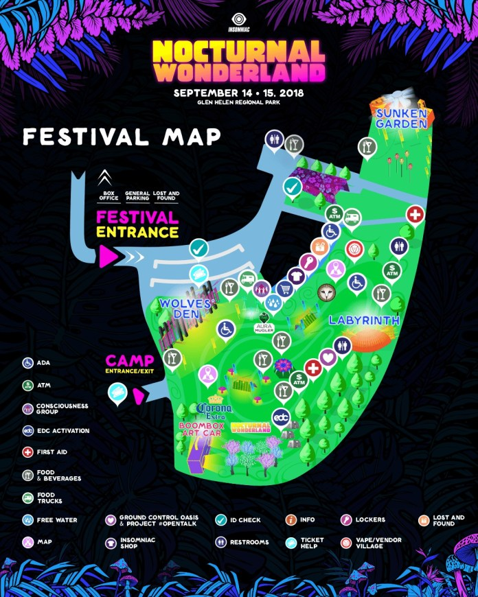 Nocturnal Wonderland 2018 Festival Map