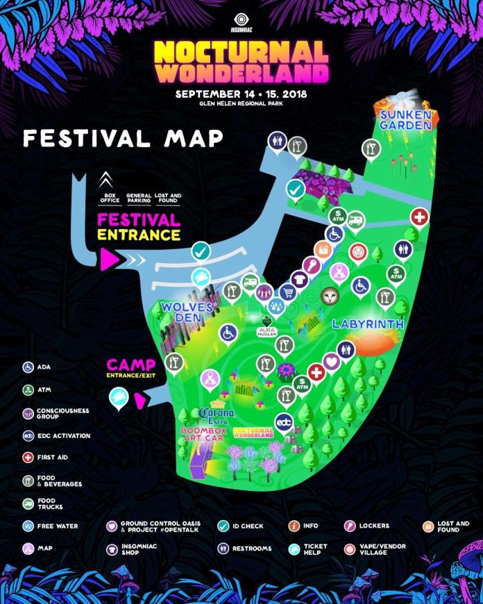 Nocturnal Wonderland 2018 Festival Map