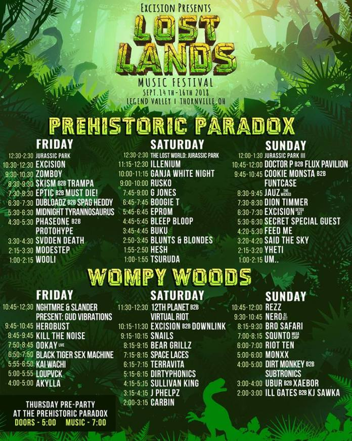 lost lands set times