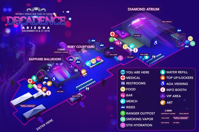 Decadence AZ 2018 Festival Map