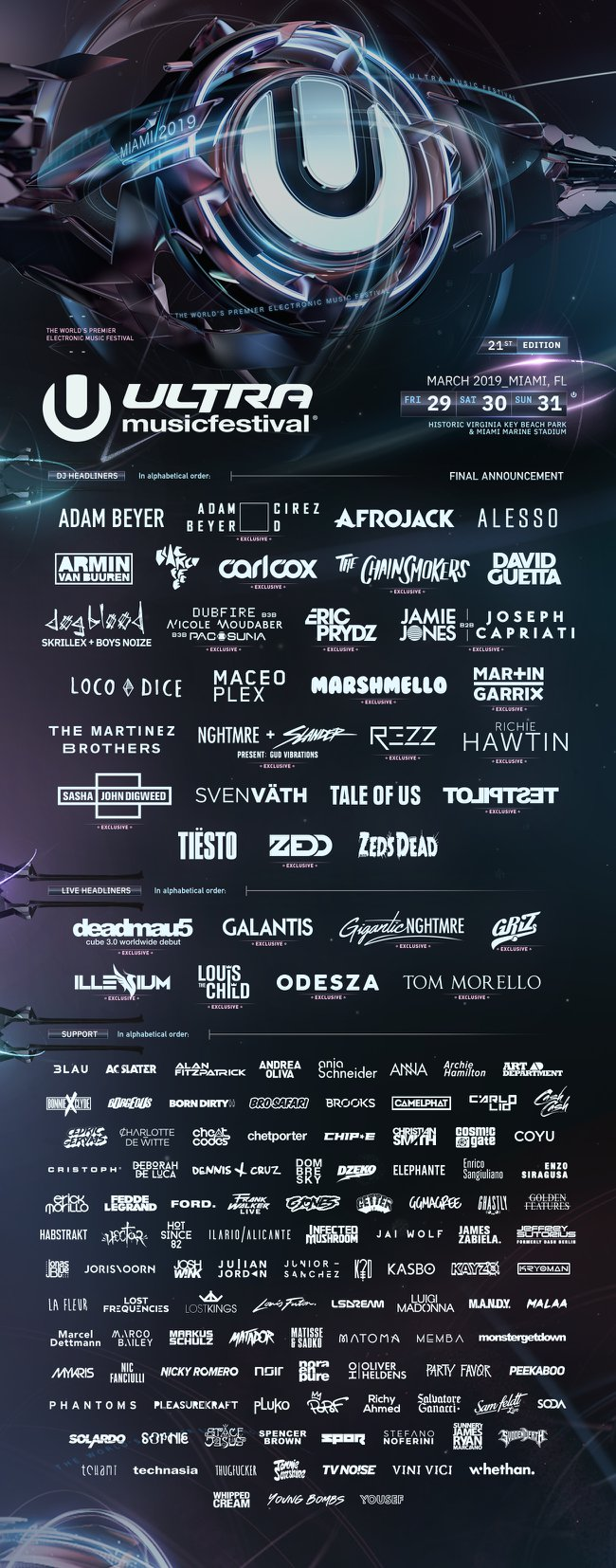 Ultra Music Festival 2019 Final Lineup