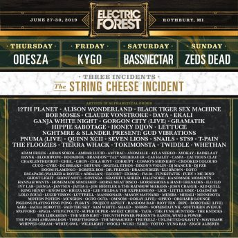 Electric Forest 2019 Phase 2 Lineup
