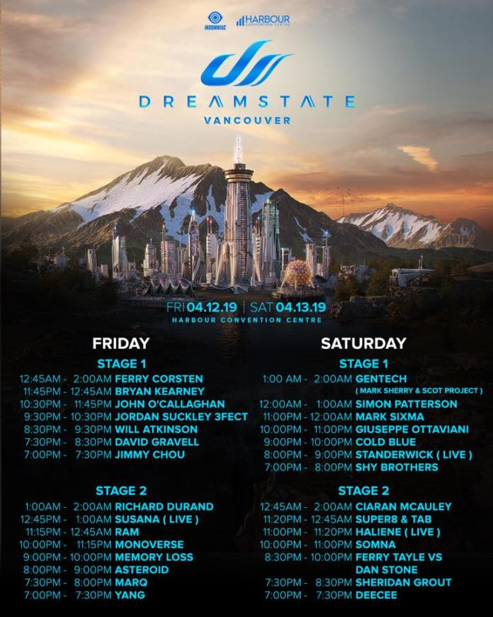 Dreamstate Vancouver 2019 Set Times