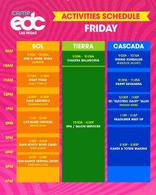 Camp EDC 2019 Activities Schedule - Friday